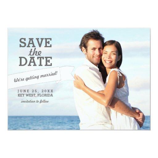 Modern banner save the date wedding photo card custom announcements