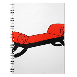 Modern banquette with wooden legs spiral notebook