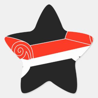 Modern banquette with wooden legs star sticker