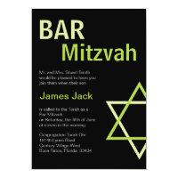 Modern Bar Mitzvah Invitation- Green & Black Card