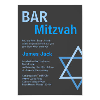 Modern Bar Mitzvah Invitiation- Blue & Grey 5x7 Paper Invitation Card