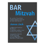 Modern Bar Mitzvah Invitiation- Blue & Grey Card