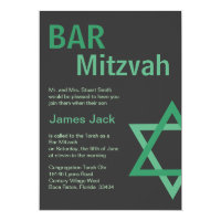 Modern Bar Mitzvah Invitiation- Green & Grey Card