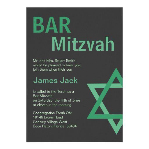 Modern Bar Mitzvah Invitiation- Green Grey Personalised Announcements