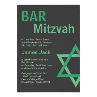 Modern Bar Mitzvah Invitiation- Green & Grey Personalised Announcements