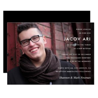 Modern Bar Mitzvah or Bat Mitzvah Photo Invitation
