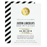 MODERN BAR MITZVAH party INVITE gold spot black
