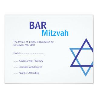 "Modern Bar Mitzvah RSVP (4.25""by 5.5"") 4.25x5.5 Paper Invitation Card"