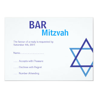 "Modern Bar Mitzvah RSVP (4.25""by 5.5"") 5x7 Paper Invitation Card"