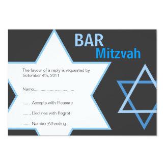 Modern Bar Mitzvah RSVP - Blue & Grey 5x7 Paper Invitation Card