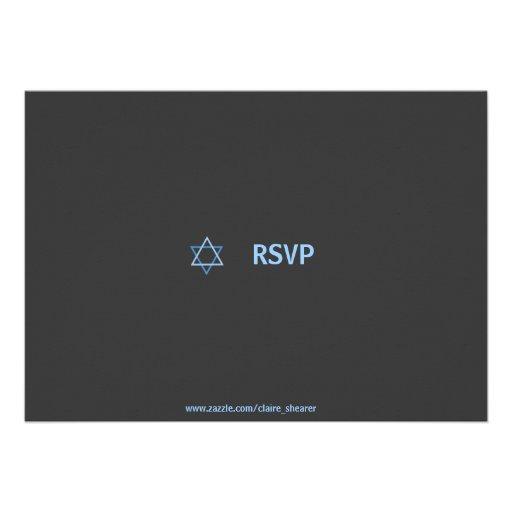 Modern Bar Mitzvah RSVP - Blue & Grey Invites (back side)