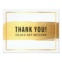 MODERN BAR MITZVAH thank you gold brush stroke Card