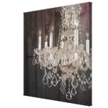 modern barnwood crystal chandelier country chic canvas print