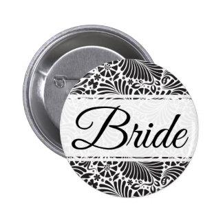 Modern Baroque Floral Bride 2 Inch Round Button