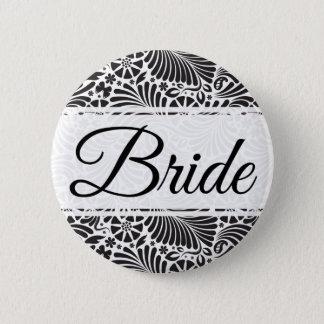 Modern Baroque Floral Bride Pinback Button