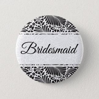 Modern Baroque Floral Bridesmaid Button