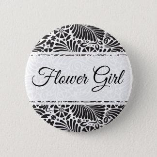 Modern Baroque Floral Flower Girl Button