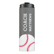 Modern Baseball Softball Coach Personalized Gray Thermal Tumbler