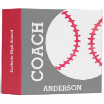Modern Baseball Softball Coach Personalized Trendy Binder