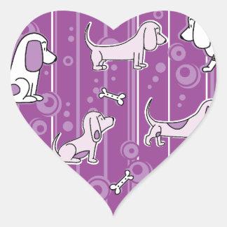 Modern Bassets Heart Sticker