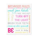 Modern Bathroom Rules Canvas Art Print Canvas Print
