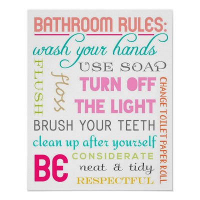 Bathroom Rules bathroom rules poster | zazzle