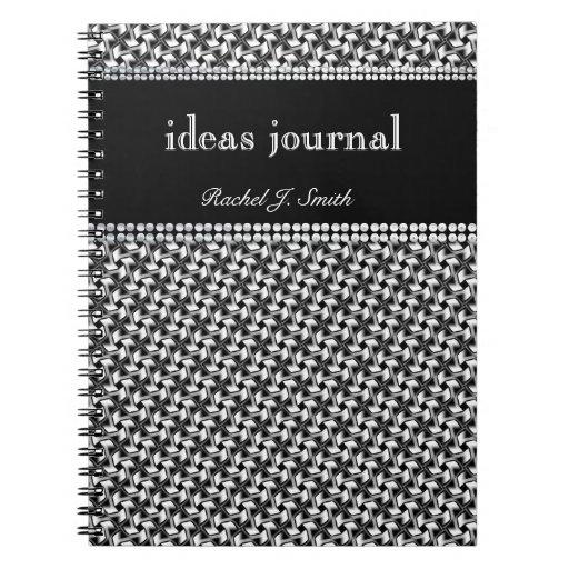 Modern Batik BlackWhite pattern Notebook Journal