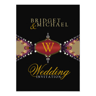 Modern Batik Monogram Wedding Invitation