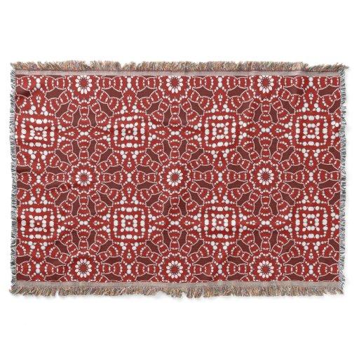 Modern Batik Red White Woven Throw Blanket