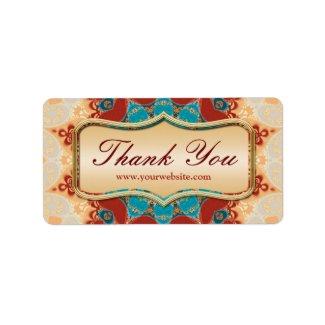 Modern Batik Thank You Sticker Labels label