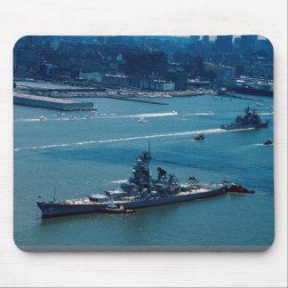 """Modern battleship, """"USS Wisconsin"""", New York, U.S. Mousepads"""