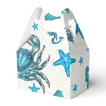 Beach Themed Modern Beach Blue Crab Starfish Seahorse Party Favor Box