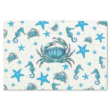 Beach Themed Modern Beach Blue Crab Starfish Seahorse Party Tissue Paper