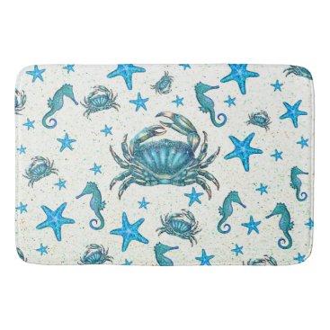 Beach Themed Modern Beach Blue Crab Starfish Seahorse Sparkle Bath Mat