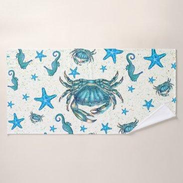 Beach Themed Modern Beach Blue Crab Starfish Seahorse Sparkle Bath Towel Set