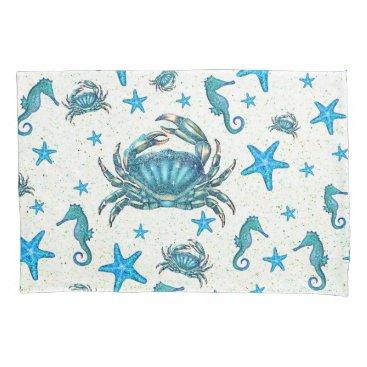 Beach Themed Modern Beach Blue Crab Starfish Seahorse Sparkle Pillowcase