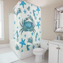 Modern Beach Blue Crab Starfish Seahorse Sparkle Shower Curtain