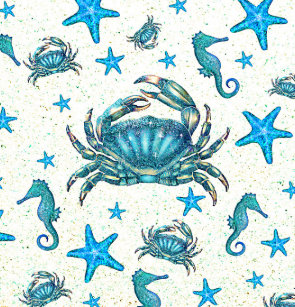 Modern Beach Blue Crab Starfish Seahorse Sparkle Shower Curtain