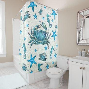 Beach Themed Modern Beach Blue Crab Starfish Seahorse Sparkle Shower Curtain