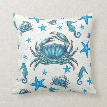Beach Themed Modern Beach Blue Crab Starfish Seahorse Sparkle Throw Pillow