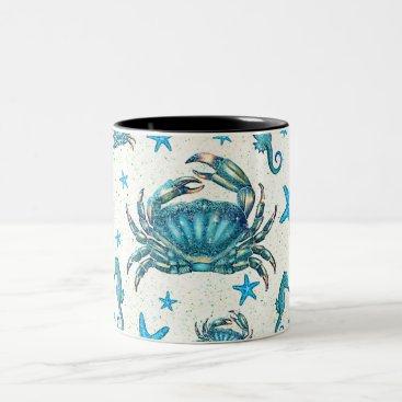 Beach Themed Modern Beach Blue Crab Starfish Seahorse Sparkle Two-Tone Coffee Mug