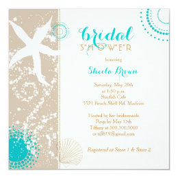 Beach bridal shower invitations announcements zazzle modern beach bridal shower card filmwisefo Image collections
