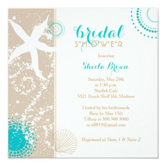 Modern beach bridal shower invitation zazzle modern beach bridal shower invitation filmwisefo