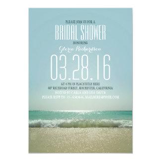 Modern beach bridal shower invitations with sea
