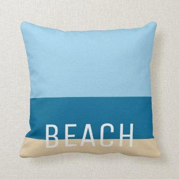 Beach Themed Modern beach colors stripes sand ocean and sky throw pillow