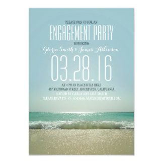 Modern beach engagement party invitations with sea