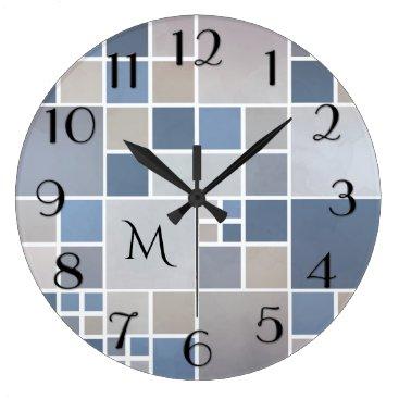 Beach Themed Modern Beach Geometric Pattern Monogram Wall Clock