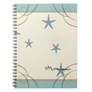 Modern Beach House Decor Starfish Sand Dollar Spiral Notebook