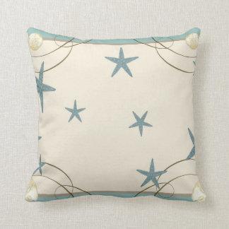 Modern Beach House Decor Starfish Sand Dollar Throw Pillow