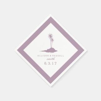 Modern Beach Island Wedding Napkins - Violet